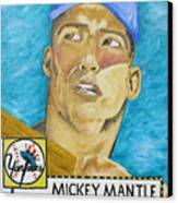 1952 Mickey Mantle Rookie Card Original Painting Canvas Print by Joseph Palotas