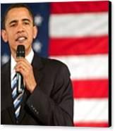 Barack Obama On Stage For Barack Obama Canvas Print by Everett