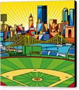 Pnc Park Gold Sky Canvas Print by Ron Magnes