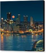 2011 Supermoon Over Pittsburgh Canvas Print by Jennifer Grover