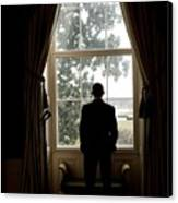 President Barack Obama Looks Canvas Print by Everett