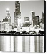 Chicago Skyline At Night Canvas Print by Paul Velgos