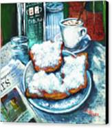 A Beignet Morning Canvas Print by Dianne Parks