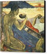 A Canoe Canvas Print by Paul Gauguin