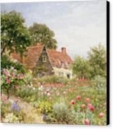 A Cottage Garden Canvas Print by Henry Sutton Palmer