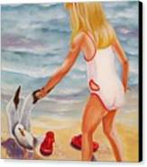 A Day At The Beach Canvas Print by Joni McPherson