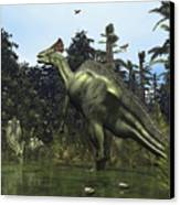 A Lambeosaurus Rears Onto Its Hind Legs Canvas Print by Walter Myers