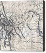 A Map Of Lewis And Clarks Track Canvas Print by Everett