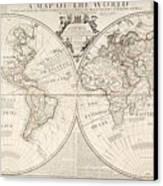 A Map Of The World Canvas Print by John Senex