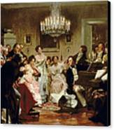 A Schubert Evening In A Vienna Salon Canvas Print by Julius Schmid