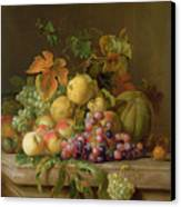 A Still Life Of Melons Grapes And Peaches On A Ledge Canvas Print by Jakob Bogdani