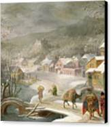 A Winter Landscape With Travellers On A Path Canvas Print by Denys van Alsloot