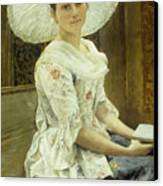 A Young Beauty In A White Hat  Canvas Print by Franz Xaver Simm