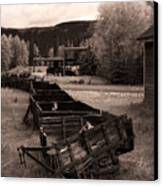 Abandoned Cars And Scattered Nuggets Canvas Print by Royce Howland