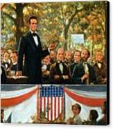 Abraham Lincoln And Stephen A Douglas Debating At Charleston Canvas Print by Robert Marshall Root