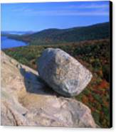 Acadia Bubble Rock Autumn Canvas Print by John Burk