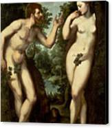 Adam And Eve Canvas Print by Peter Paul Rubens