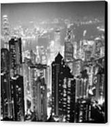 Aerial View Of Hong Kong Island At Night From The Peak Hksar China Canvas Print by Joe Fox