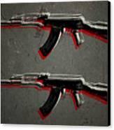 Ak47 Assault Rifle Pop Art Canvas Print by Michael Tompsett