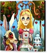 Alice And The Rabbit Having Tea... Canvas Print by Lucia Stewart