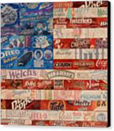 American Flag - Made From Vintage Recycled Pop Culture Usa Paper Product Wrappers Canvas Print by Design Turnpike