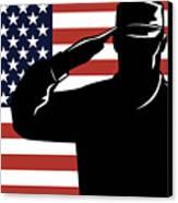 American Soldier Salute Canvas Print by Aloysius Patrimonio