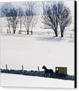 Amish Horse And Buggy In Snowy Landscape Canvas Print by Jeremy Woodhouse
