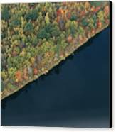An Aerial View Of A Forest In Autumn Canvas Print by Heather Perry