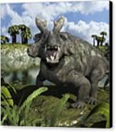 An Estemmenosuchus Mirabilis Stands Canvas Print by Walter Myers
