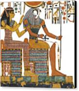 Ancient Egyptian Gods Hathor And Re Canvas Print by Ben  Morales-Correa