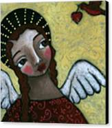 Angel With Bird Of Peace Canvas Print by Julie-ann Bowden
