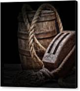 Antique Pulley And Barrel Canvas Print by Tom Mc Nemar