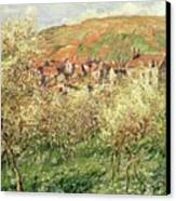 Apple Trees In Blossom Canvas Print by Claude Monet