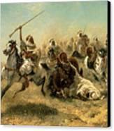 Arab Horsemen On The Attack Canvas Print by Adolf Schreyer