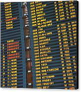 Arrival Board At Paris Charles De Gaulle International Airport Canvas Print by Sami Sarkis