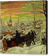 Arriving For The Holidays Canvas Print by Boris Mihajlovic Kustodiev
