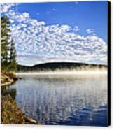 Autumn Lake Shore With Fog Canvas Print by Elena Elisseeva