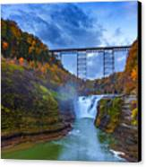 Autumn Morning At Upper Falls Canvas Print by Rick Berk