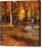 Autumn - People - A Walk In The Park Canvas Print by Mike Savad