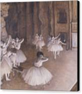 Ballet Rehearsal On The Stage Canvas Print by Edgar Degas