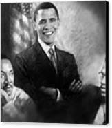 Barack Obama Martin Luther King Jr And Malcolm X Canvas Print by Ylli Haruni
