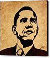 Barack Obama Original Coffee Painting Canvas Print by Georgeta  Blanaru