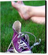 Barefoot In The Grass Canvas Print by David April