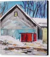 Barnyard In Winter Canvas Print by John Williams