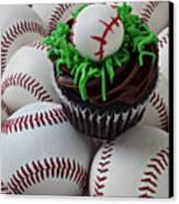 Baseball Cupcake Canvas Print by Garry Gay