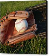 Baseball Gloves After The Game Canvas Print by Anna Lisa Yoder