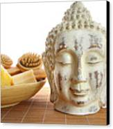 Bath Accessories With Buddha Statue Canvas Print by Sandra Cunningham