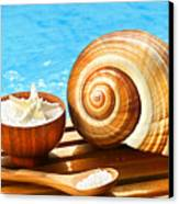Bath Salts And Sea Shell By The Pool Canvas Print by Sandra Cunningham
