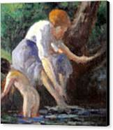 Bathing Canvas Print by Maximilien Luce