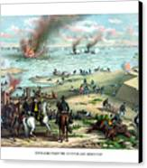 Battle Between The Monitor And Merrimac Canvas Print by War Is Hell Store